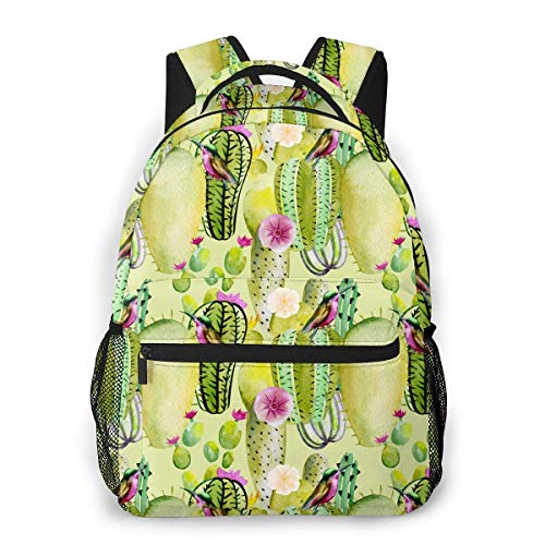 IUBBKI Cactus Flowers Hummingbirds Unisex Backpacks with Adjustable Padded Shoulder Straps Casual Backpack