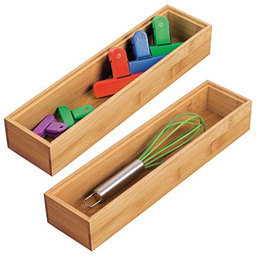 mDesign Bamboo Kitchen Cabinet Drawer Organizer Stackable Tray Bin - Eco-Friendly, Multipurpose - Use in Drawers, on Countertops, Shelves or in Pantry - 3 Wide, 2 Pack - Natural Wood Finish