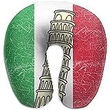 Almohada Suave y cómoda para el Cuello, la Almohada de Espuma de Memoria en Forma de U Evita Que la Cabeza caiga hacia adelante para Viajar Vuelo de Descanso - Bandera de Italia Torre de Pisa