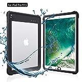 iPad Pro 10.5 防水ケース アイパッドカバー 10.5インチ IP68 防水規格 耐衝撃 軽量 薄型 水場 全面保護 タブレットケース 安心感 ストラップ付き スタンド機能 アウトドア キッチン プール ipad pro 10.5 (ブラック+透明)