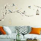 decalmile Pegatinas de Pared Árbol de Cerezo Vinilos Decorativos Flores Blanco Aves en Rama Adhesivos Pared Salón Dormitorio Comedor