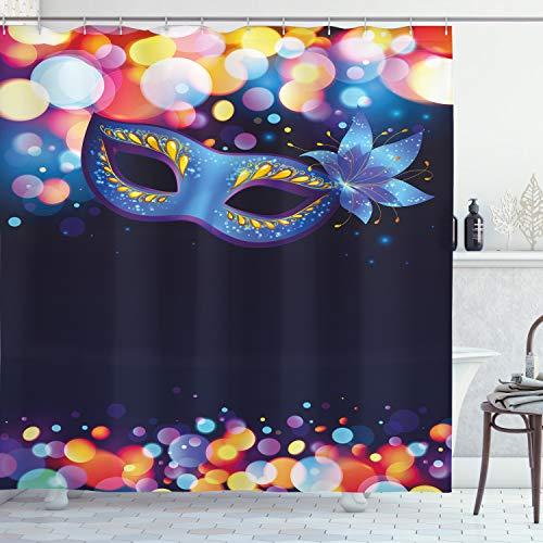ABAKUHAUS Venedig Duschvorhang, Kräftiges Blau Karneval, Set inkl.12 Haken aus Stoff Wasserdicht Bakterie & Schimmel Abweichent, 175 x 200 cm, Mehrfarbig