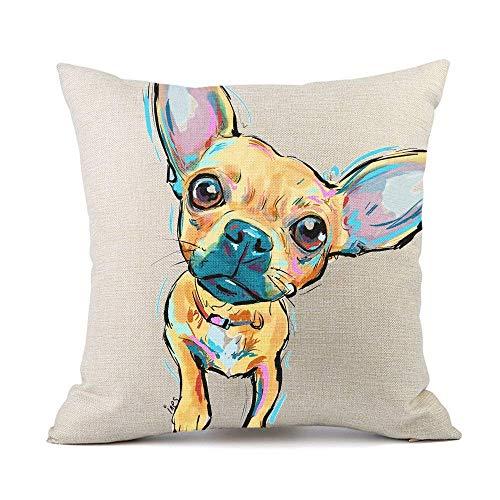 Moyun Niedlich Haustier Chihuahua Hund Kissenbezug Geschenk Baumwolle Leinen Zierkissenbezüge Hause Dekor 45cm Platz