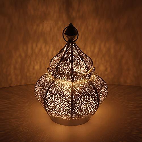 Orientalische Laterne aus Metall Anida gold 30cm | Marokkanisches Windlicht Gartenlaterne | hängend oder stehend | Schöne Tischlaterne für Hochzeit Feier Dekoration Weihnachten Geschenk | LN2060
