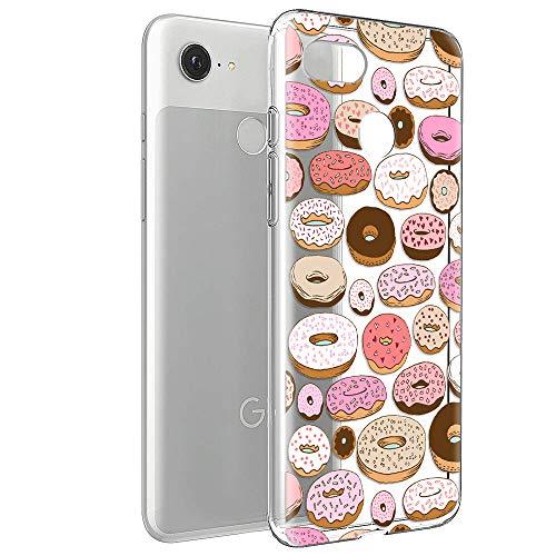 ZhuoFan Cover Google Pixel 3A, Custodia Cover Silicone Trasparente con Disegni Ultra Slim TPU Morbido Antiurto 3d Cartoon Bumper Case Protettiva per Google Pixel 3A (Donuts)