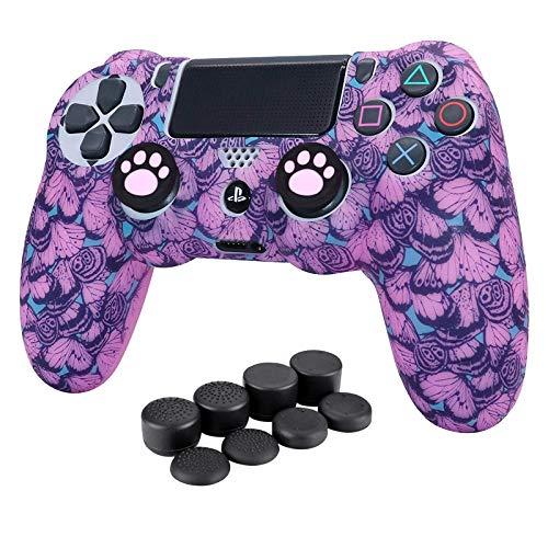 HLRAO Carcasa Mando ps4 ,Rosa Silicona Mando Protector Funda para Playstation 4 /Slim/Pro Mando x1 +10 × Grips para Pulgares.