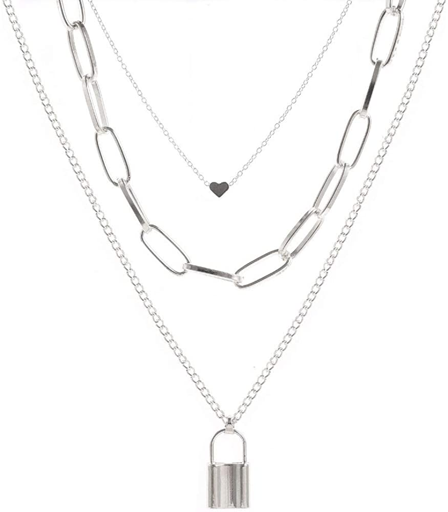 National products OFFicial store Rock 3Pcs Multilayer Lock Pendant Clavicle Heart Key Necklace Go