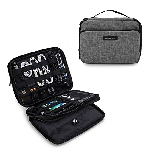 BAGSMART 3-Layer Travel Electronics Cable Organizer with Bag for 7.9 Tablet, iPad Mini, Hard Drives, Cables, Charger, Kindle, Grey