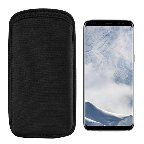 BaoXinQi Black Universal Vertical Neoprene Sleeve Case Cover Skin for Apple iPhone 7 8 Plus/Samsung S9+ / S8+ / Note 8 / A6 / A6+ / A8+ / S8 Active / A7 J7 / HTC U12+ / Desire 12+