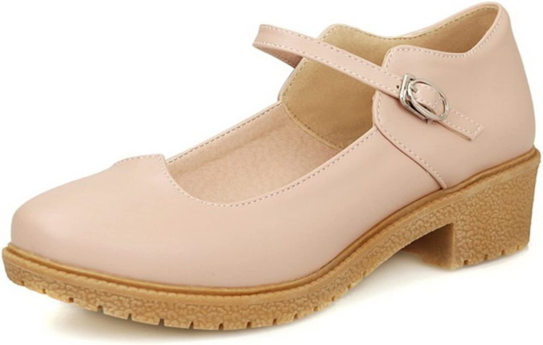 BalaMasa Girls Chunky Heels Buckle Platform Imitated Leather Pumps-shoes