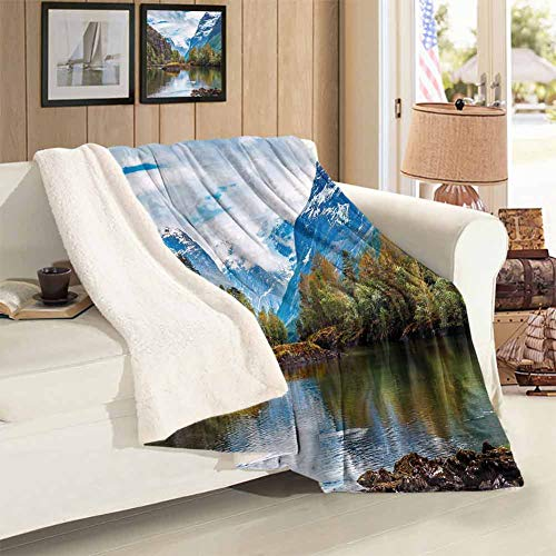 Pattern Printed Blanket Twin Size Norway Mountain Range with Snowy Peaks by The Lake Fishing Nordic Northern Landscape Super Soft Blankets Home Decorative Holiday Blankets 59 x 78 inch