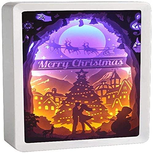 Luces nocturnas hechas a mano Lámpara de mesa LED creativa Luz de noche y sombra Luces talladas, lámpara de papel de papel 3D Lámpara de arte y artesanías, Regalo (Color : L)