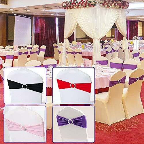 Generisch Stuhlschleifen Schleifenbänder 50 Stretch Schleifen Für Stuhlhussen Hochzeit Rot/lila/schwarz/rosa (Rot)