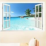 Adesivo da parete decorativo rimovibile, immagine 3D di finestra con vista su spiaggia e mare, 90 x 60 cm