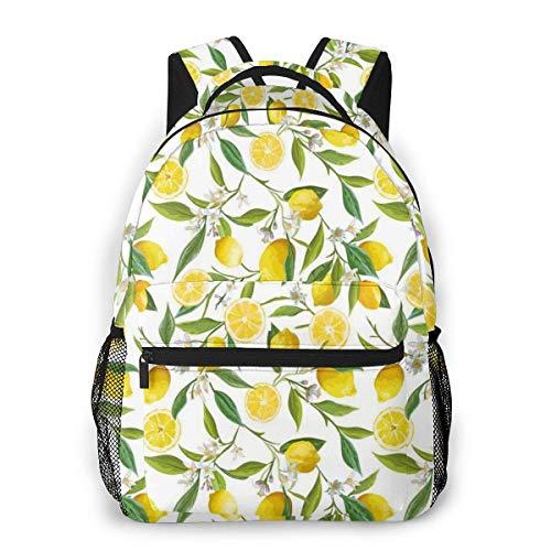 Lawenp Mochilas Escolares Ramas de limón exóticas Yummy Delicious Diseño de jardinería de Cocina para niñas Adolescentes y niños Mochilas para Estudiantes de 16 Pulgadas Mochila Informal para comput