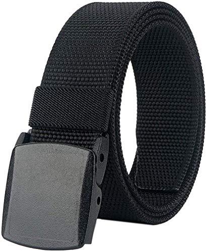 LionVII Gürtel für Herren Tactical Military Nylon mit Kunststoffschnalle 130cm (Schwarz)