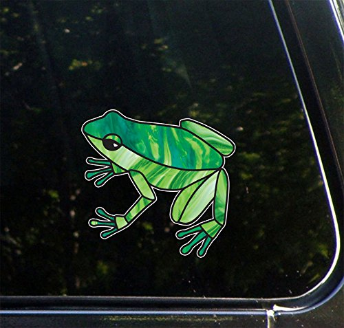 """Yadda-Yadda Design Co. Dart Frog - Stained Glass Style - Vinyl Decal for Cars and Trucks - Copyright (4"""" w x 3.75"""" h) (Green)"""