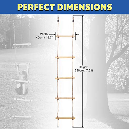 Ninja Warrior Obstacle Course Climbing Rope Ladder Attachment, Outdoor Playground Accessories for Kids, Jungle Gym Monkey Line Training Equipment, Tree House Ladder Playground for Ultimate