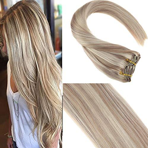 Sunny 7Pcs 14Zoll Haarverlangerung Echthaar Clips #18 Dunkle Aschblondine mit #613 Gebleichtes Blond Remy Echt Haarextension Clip in Echthaar Extensions 120g/pack