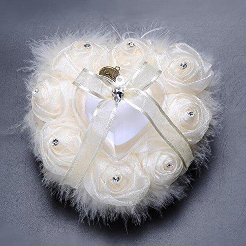 bpblgf New Almohada De Anillo De Diamantes En Forma De CorazóN De Pelo De Avestruz De Rose De Gama Alta Caja De Anillo De Novia Hechos A Mano, 01, 15 * 15cm