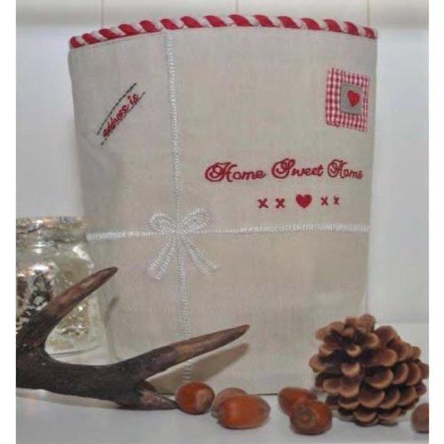 Stoffkorb panier hOMEADRESS beige/rouge/blanc 20 x 20 cm