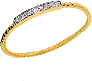14K Yellow Gold .04 ctw Diamond Stackable Rope Band Ring Sizes 6.5, 7.5