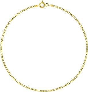PLANETYS - Cavigliera Argento Sterling 925 Placcato Oro 18K Modello Catenina Figaro (1+3) Larghezza: 1.5 mm