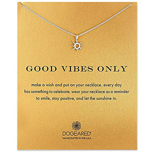 CH01 Clavicle Necklace with Blessing Gift Card, Small Dainty Gold Sun God Light with Rope Pendant Chain, Classy Costume Choker Jewelry Favors