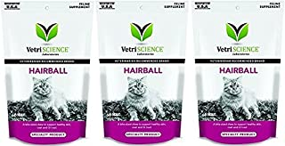 VetriScience Laboratories Hairball Digestive Support for Cats, Chicken Liver Flavored, 60 Bite Sized (3 Pack)