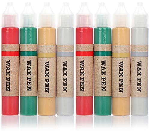 com-four Set pastelli a Cera 8 Pezzi per Candele - Fodere in Cera in Diversi Colori - Penna per Candele per dipingere Candele - Fodere per Candele - matite di Candele (08 Pezzi - pastelli a Cera)