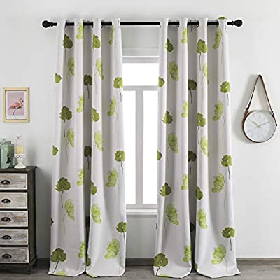 Taisier Home Contemporary Watercolor Petal Print Curtains 84 Inch Length 2 Pieces Yellow Green Flower Curtains for Patio Glass Door,Ornamental Grommet Floral Room Darkening Drapes, 52W ×84L