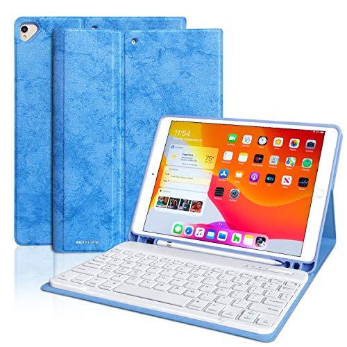 iPad 10.2 Keyboard Case for iPad 7th Gen 2019, New iPad 7th Generation Case with Keyboard, 2 in 1 Detachable iPad Keyboard Case with Pencil Holder for iPad Gen 7/ iPad Air 3rd Gen/iPad Pro 10.5(Blue)