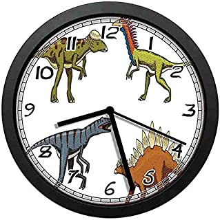 BCWAYGOD Dinosaur Art Wall Clock,Wild Fossils Prehistoric Scary S Reptiles Look Like Dragons Fantasy-Non-Ticking Wall Clock Silent Home Decor Battery Operated Clock 10 Inch
