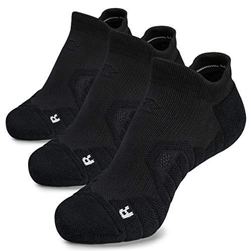 Hylaea No Show Chaussettes de compression unisexe pour course à pied, entraînement, sport, marche, voyage, coupe basse XL 3 paires noires