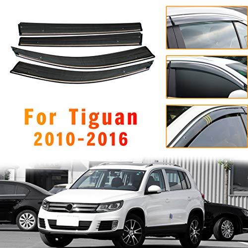 ALLYARD Für VW Tiguan 2010-2016 Auto Seitenscheibe Visiere Deflectors Window Visier Regen Wind Außenkantenschutz Windabweiser Regenabweiser Dekoration 4Stück