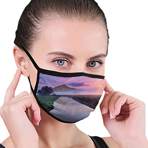 Mouth Cover for Women,Face Mask Reusable Washable Cloth for Men Still Lake View with Misty Purple Sunny Sky and Big Mountain