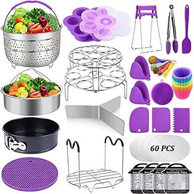 Accessories for Instant Pot, Sugaroom 100 PCS Pressure Cooker Accessories Set Compatible with Instant Pot Accessories 6 qt 8 quart-2 Steamer Baskets, Springform Pan, Egg Rack, Egg Bites Mold and More