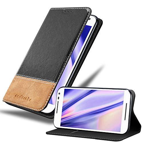 Cadorabo Funda Libro para Motorola Moto G3 en Negro MARRÓN - Cubierta Proteccíon con Cierre Magnético, Tarjetero y Función de Suporte - Etui Case Cover Carcasa