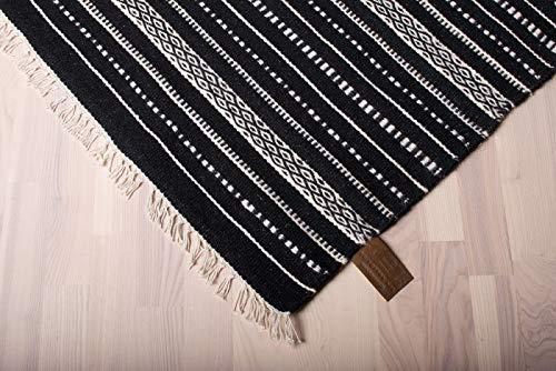 Wollteppich ISLAND Handgewebt Schwarz Streifen Größe 80 x 150 cm