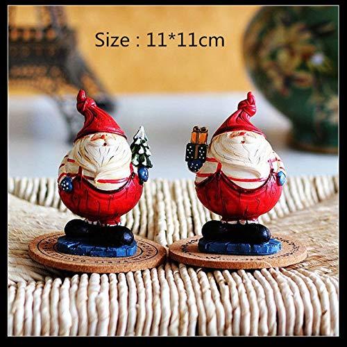 yueyue947 11cm Figurine di Natale in Resina Bambola di Babbo Natale Casa Statua di Natale Regali per Bambini Decorazioni Natalizie per la casa Capodanno/Babbo Natale 2Pz