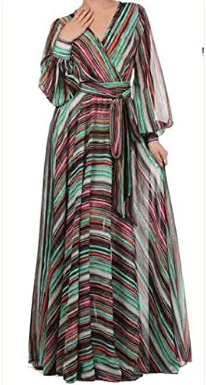 Geographic Stripes Sheer Maxi Dress