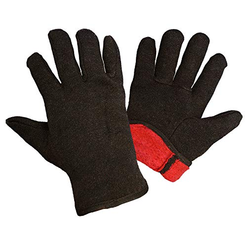 12 Pack Red Fleece Lined Brown Jersey Gloves 14oz Men's size. Reusable Washable Glove with Open Cuff, Gunn Cut Pattern. Plain Breathable Gloves. Protective Industrial Work Gloves. Comfortable.