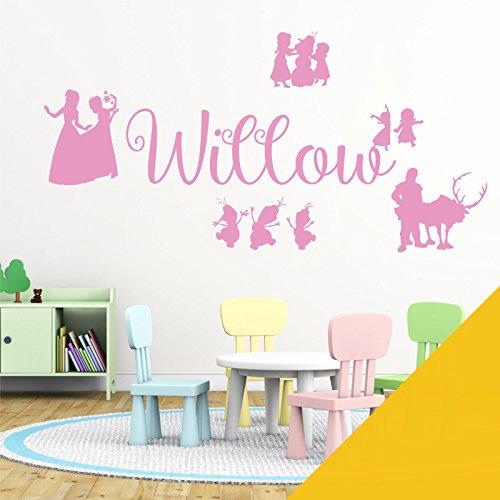 Wall Designer Nom personnalisé Filles Art Mural Autocollant – inspirée de Disney La Reine des neiges, Elsa, Anna, Olaf, Kristoff, Tournesol, Medium (580x150mm)
