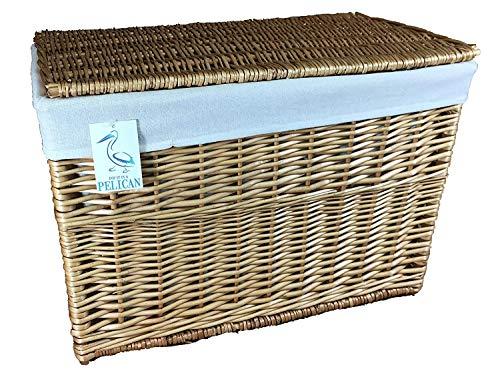 Cestas de mimbre grandes y extraíbles, forro lavable y elegante, solución de almacenamiento elegante, ideal para ropa de cama (natural, 50 litros)