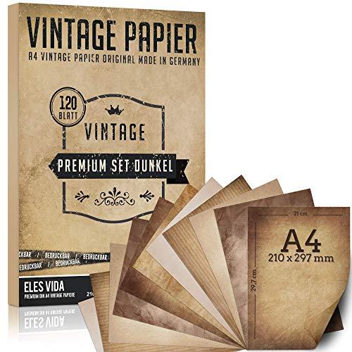 120 vellen oud papier, vintage DIN A4 bedrukbaar - certificaten schatkaarten knutselpapier, kartonnen papier - knutselen voor kaarten, bruiloft, nostalgie verjaardag ridders en piraten donker