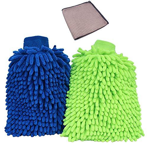2 pièces Kit de gants de nettoyage en microfibre, HUYU gants corail velours super absorbant wet/ dry clean 26 cm x 19 cm, avec 1 pièces Chiffon de Nettoyage (Bleu + vert)