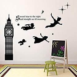 Image: Children's Room Wall Decor | Peter Pan Scene Silhouettes | Disney Themed Vinyl Stickers for Kids Playroom, Boy or Girl Bedroom | Second Star to the Right and Big Ben Clock | Black, White, Other Colors