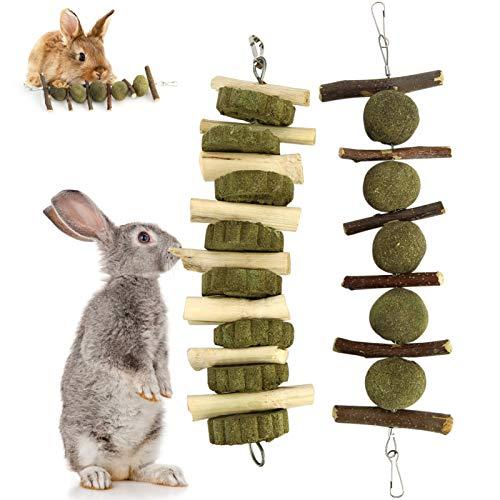 Yokawe 2 Piezas Bunny Chew Balls Masticar Juguetes para Jugar Cuidado De Los Dientes Molar Palitos De Manzana Natural para Conejos Chinchillas Conejillos De Indias Hamsters Mejoran La Salud Dental