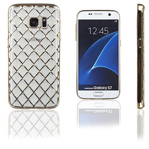 Xcessor Convex Checkered Glossy Flexible TPU case for Samsung Galaxy S7 SM-G930. Transparent/Golden Color