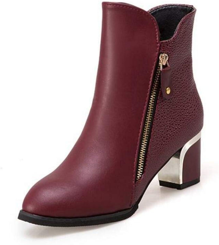 BeautyOriginal Women Ankle Heel Boots for Winter Party Wedding Leather Low-Heel Round Toe